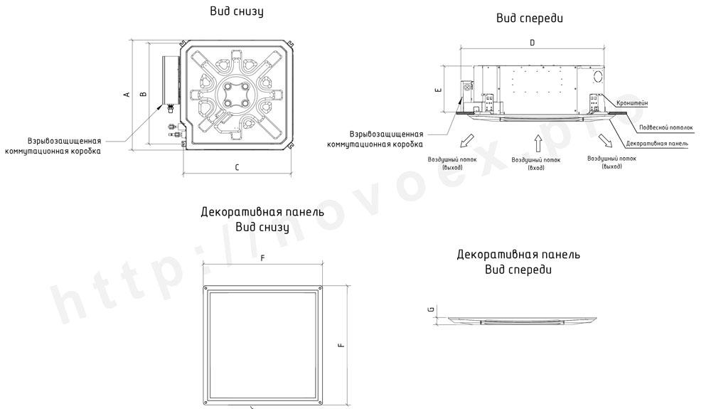 Габаритные размеры кассетного кондиционера NovoEx novocs.ru