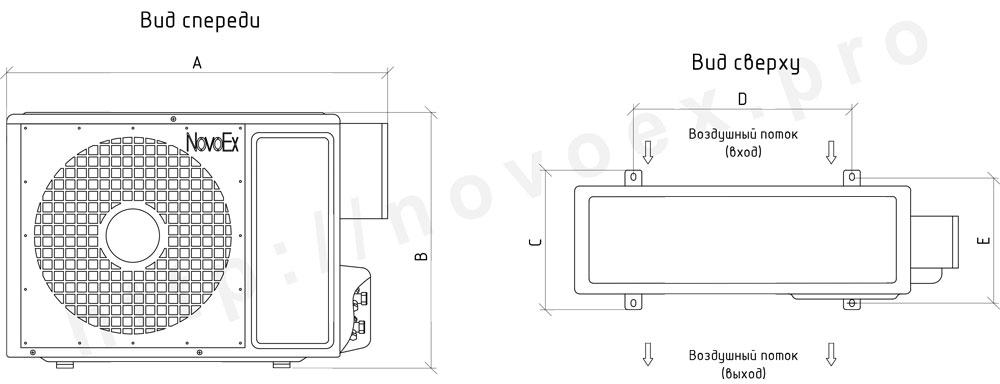 Габаритные размеры наружного блока кондиционера во взрывозащищенном исполнении NovoEx novoex.pro